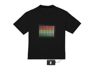 Skque Sound Activated LED Light Up T Shirt, Equalizer Bars, Size M