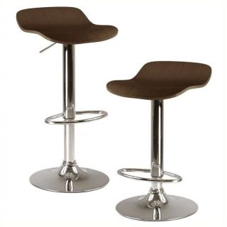 "Winsome Kallie 22.7"" 30.8"" Adjustable Air Lift Stools in Cappuccino (Set of 2)   93489"