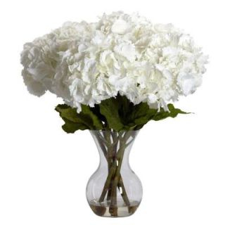 Nearly Natural 23 in. H White Large Hydrangea with Vase Silk Flower Arrangement 1260