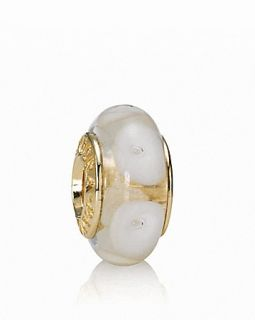 PANDORA Charm   Murano Glass & 14K Gold White Mystic, Moments Collection