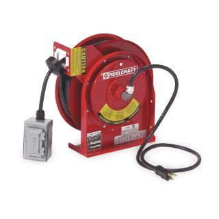REELCRAFT Red Retractable Cord Reel, 20 Max. Amps, Cord Ending: Duplex GFCI Box Receptacle, 45 ft. Cord Length   Extension Cord Reels   2XJA2|L 4545 123 7A 1