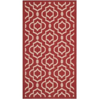 Safavieh Indoor/ Outdoor Courtyard Red/ Bone Power loomed Rug (27 x 5