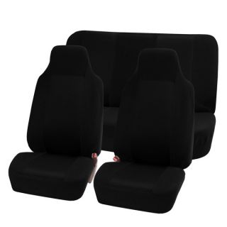 FH Group Black Full Set Fabric Auto Seat Covers   15605636