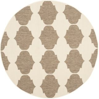 Safavieh Indoor/ Outdoor Courtyard Brown/ Beige Rug (53 Round