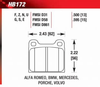 Hawk HB172F.595   Front Pads   Full Set   Brake Pads
