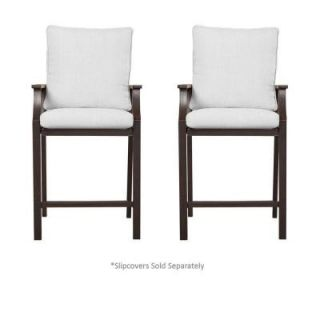 Hampton Bay Millstone Patio High Dining Chair with Cushion Insert (2 Pack) (Slipcovers Sold Separately) FCA65098H BARE