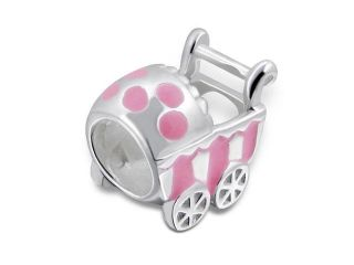 Cheneya Sterling Silver and Pink Enamel Baby Carriage Bead