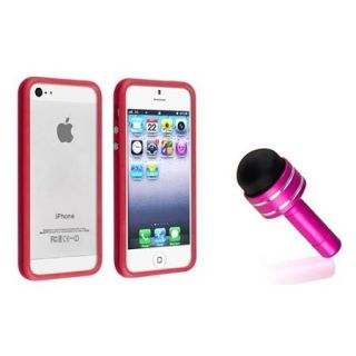 Insten Fire Red TPU Bumper FraCase Skin Cover w/Button For iPhone 5S 5+Pink Plug Stylus