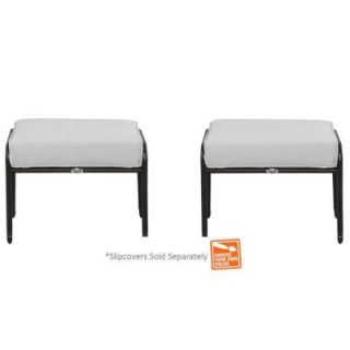 Hampton Bay Fall River Patio Ottoman with Cushion Insert (2 Pack) (Slipcovers Sold Separately) DY11034 O B