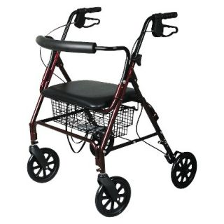 Medline Bariatric Extra Wide Heavy Duty Rollator   Burgundy