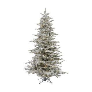 Vickerman 12 ft Pre Lit Flocked White Artificial Christmas Tree with Warm White LED Lights