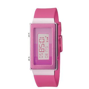 Casio Ladies Calendar Day/Date Watch with Rectangle Pink Dial and Pink