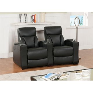 Cooper Two Seat Black Top Grain Leather Recliner Home Theater Seating