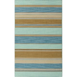 Handmade Flat Weave Stripe Pattern Blue Contemporary Rug (5 x 8