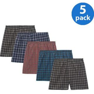 Fruit of the Loom Big Men's Tartan Woven Boxers, 5 Pack