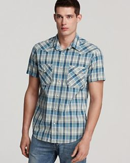 Lucky Brand Dusk Plaid Western Short Sleeve Button Down Shirt   Classic Fit