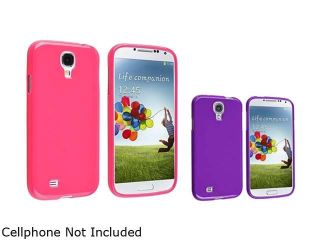 Insten Pink + Purple Jelly TPU Rubber Silicone Case Cover Compatible with Samsung Galaxy SIV S4 i9500