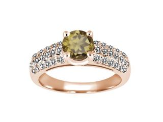 1.26 Ct Round Whiskey Quartz White Diamond 925 Rose Gold Plated Silver Ring