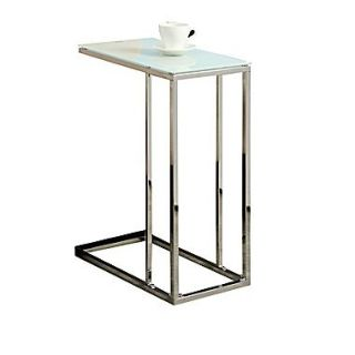 Monarch 24 Tempered Glass/Chrome Metal Accent Table, White