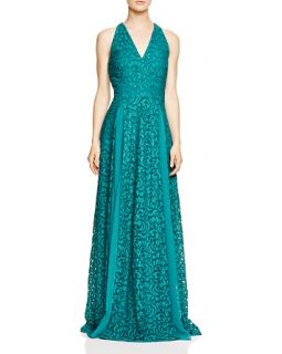 AQUA Sleeveless V Neck Lace Gown   100% Exclusive