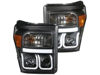 Anzo USA 111292 Projector Headlight Set; Clear Lens; Black Housing; Pair; w/U Bar;