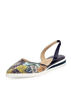 Paul Andrew Floral Print Leather Slingback Flat, Twilight/Botanica