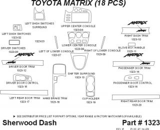 2003, 2004 Toyota Matrix Wood Dash Kits   Sherwood Innovations 1323 N50   Sherwood Innovations Dash Kits
