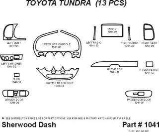2000, 2001, 2002 Toyota Tundra Wood Dash Kits   Sherwood Innovations 1041 N50   Sherwood Innovations Dash Kits