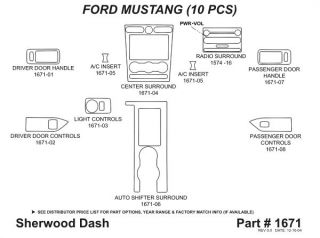 2005 2009 Ford Mustang Wood Dash Kits   Sherwood Innovations 1671 N50   Sherwood Innovations Dash Kits
