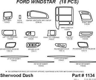 1999, 2000 Ford Windstar Wood Dash Kits   Sherwood Innovations 1134 CF   Sherwood Innovations Dash Kits