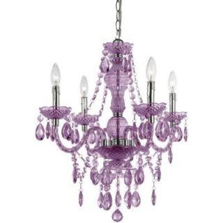 AF Lighting Naples 4 Light Chrome Mini Chandelier with Light Purple Plastic Bead Accents 8353 4H