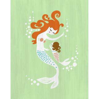 Mermaid and Baby Girl Paper Print by Evive Designs