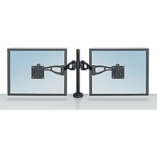 Fellowes Professional Series 8041701 Depth Adjustable Dual Arm for 48 lbs. LCD Monitors, Black
