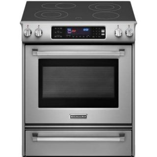 KitchenAid Pro Line Series 4.1 cu. ft. Slide In Electric Range with Self Cleaning Convection Oven in Stainless Steel KESS907XSP