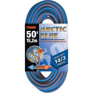 Prime Wire & Cable Arctic Blue Extension Cord — 50ft., 15 Amps, 14/3 Gauge, Blue, Model# LT530730
