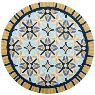 Safavieh Four Seasons Round Brown Geometric Indoor/Outdoor Woven Area Rug (Common 4 ft x 4 ft; Actual 4 ft x 4 ft)