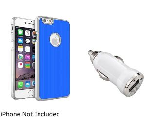 Insten Blue Brushed Aluminum Case Cover with White Car Charger Adapter for Apple iPhone 6 (4.7 inch) 2002643