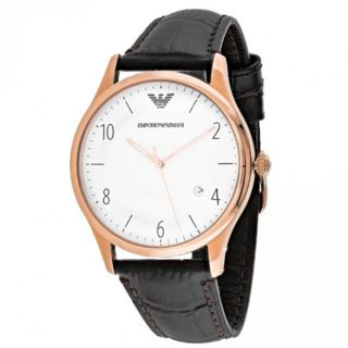 Emporio Armani Mens AR1915 Classic Round Brown Leather Strap Watch