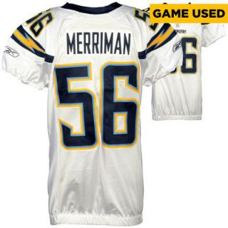 Shawne Merriman San Diego Chargers  Authentic Game Used White #56 Jersey from 2007 Season   1