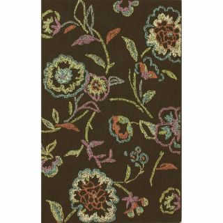 nuLOOM Machine tufted Contemporary Floral Dark Brown Rug (5 6 x 7 6
