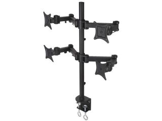 "Quad LCD Monitor Desk Mount Stand Heavy Duty Fully Adjustable fits 4 /Four Screens up to 27"" ~ (by VIVO) STAND V004"