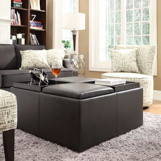 INSPIRE Q Montrose Faux Dark Brown Leather Multipurpose Storage
