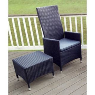 Outdoor Elements Goshen Wicker Hydraulic Recliner Chair with Ottoman/Table