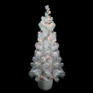 3.5' x 18'' Pre Lit Potted Flocked White Tinsel Artificial Christmas Tree   Clear Lights
