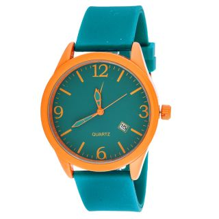 Xtreme Mens Orange Case with Turquoise Rubber Strap Classic Watch
