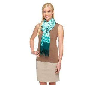 Isaac Mizrahi Live Porcelain Print Scarf with Fringe Detail —