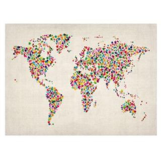30 in. x 47 in. Stars World Map 2 Canvas Art MT0200 C3047GG