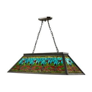 Radionic Hi Tech Thepresea 4 Light 44 in. Bronze Hand Rolled Art Glass Island Light DT_ISL_TH12406_RHT