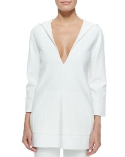Michael Kors Hooded Deep V Neck Tunic, Optic White