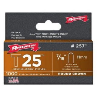 "Arrow Fasteners 257 T25 Staple, 7/16"", 1000 Pk"
